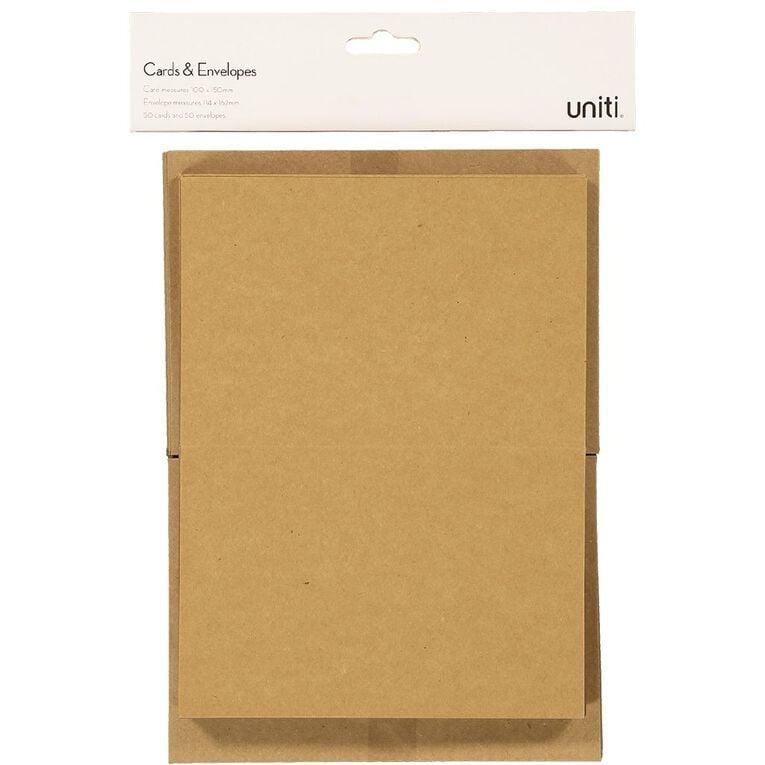 Uniti Cards & Envelopes Kraft 50 Pack, , hi-res