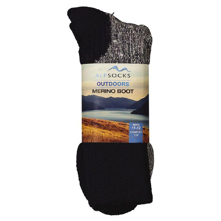 Alpsocks Men's Merino Boot Socks 1 Pack, Navy, hi-res