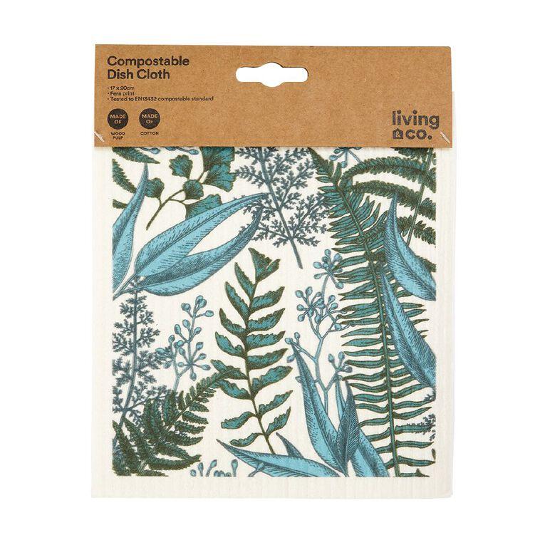 Living & Co Compostable Dishcloth Fern 17x20cm Multi-Coloured, , hi-res
