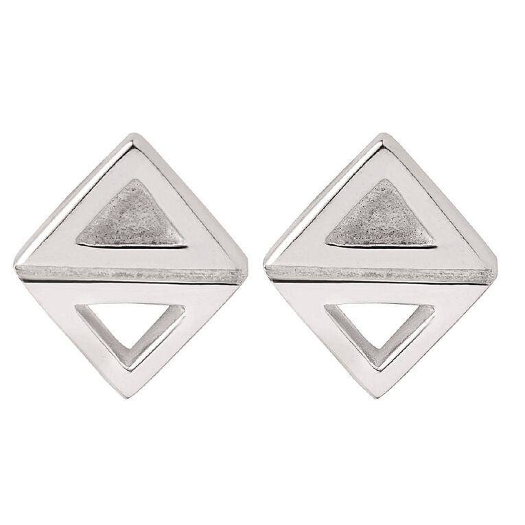 Sterling Silver Double Triangle Stud Earrings, , hi-res image number null