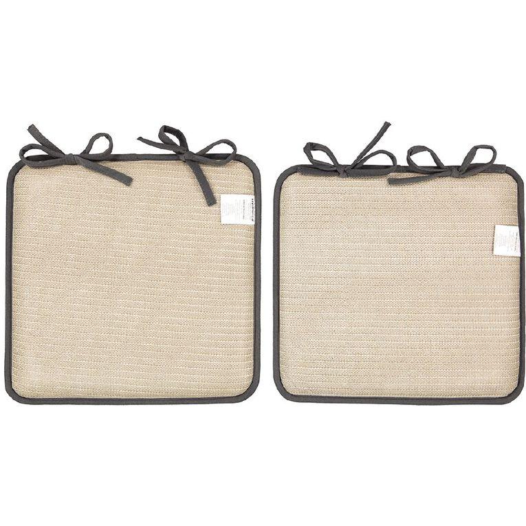 Living & Co Memory Foam Chair Pad 2 Pack Charcoal 40cm x 40cm, Charcoal, hi-res