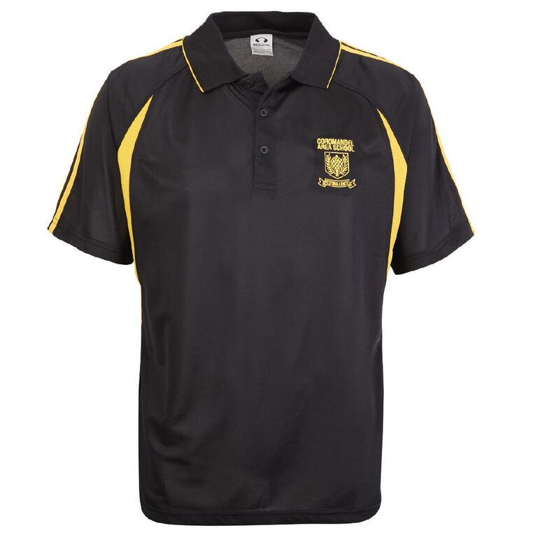 Schooltex Coromandel Area School 7-10 Year SS Polo with Embroidery, Black/Gold, hi-res