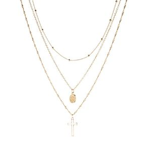 Basics Brand 3 Layer Coin Cross Gold Necklace