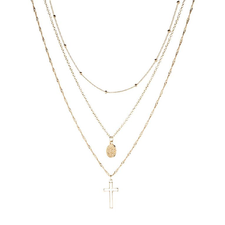 Basics Brand 3 Layer Coin Cross Gold Necklace, Gold, hi-res