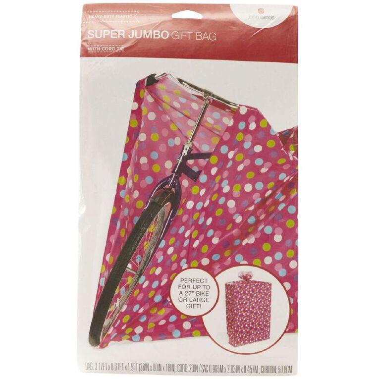 John Sands Gift Bag Hotwheels Bike Spots On Pink, , hi-res