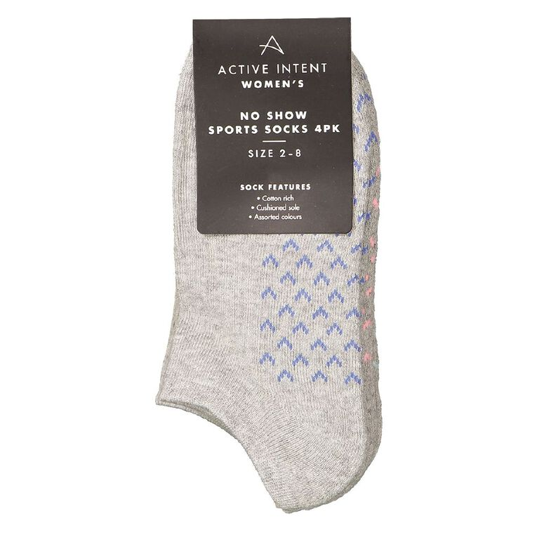 Active Intent Women's No Show Cushioned Socks 4 Pack, Grey Marle, hi-res