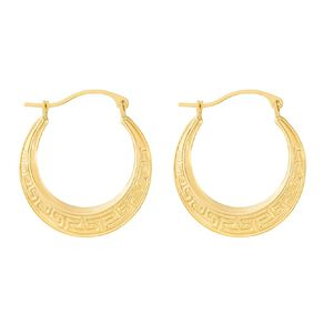 9ct Gold Greek Key Hoop Earrings Large
