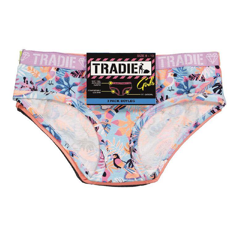 Tradie Girl's Boyleg Briefs 3 Pack, Blue/Pink, hi-res