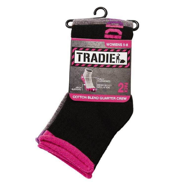 Tradie Women's Quarter Crew Work Socks 2 Pack, Black/Grey, hi-res image number null