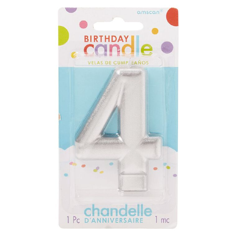 Candle Metallic Numeral #4 Silver, , hi-res
