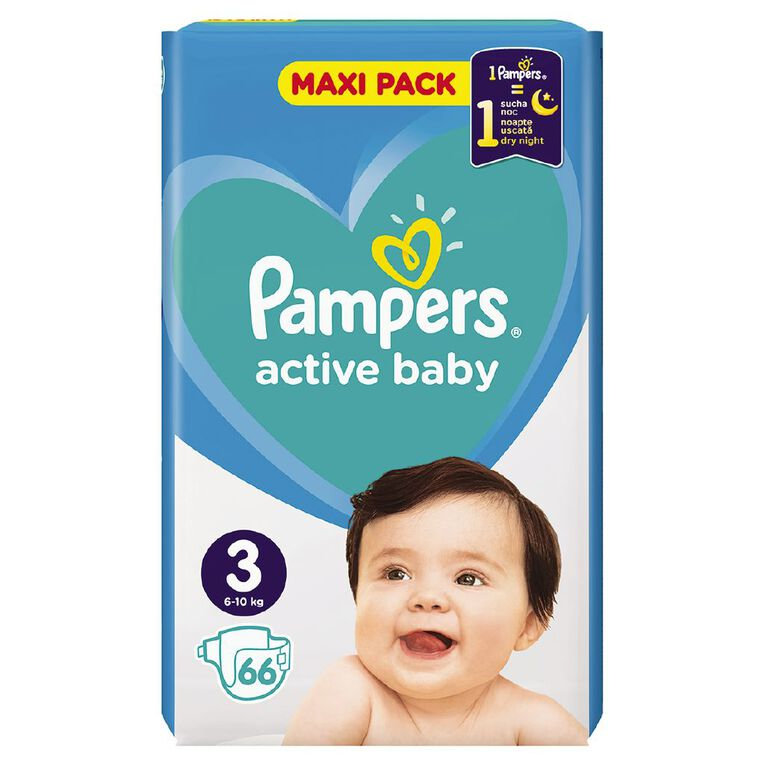 Pampers Nappies Active Baby Maxi Pack S3 (66), , hi-res