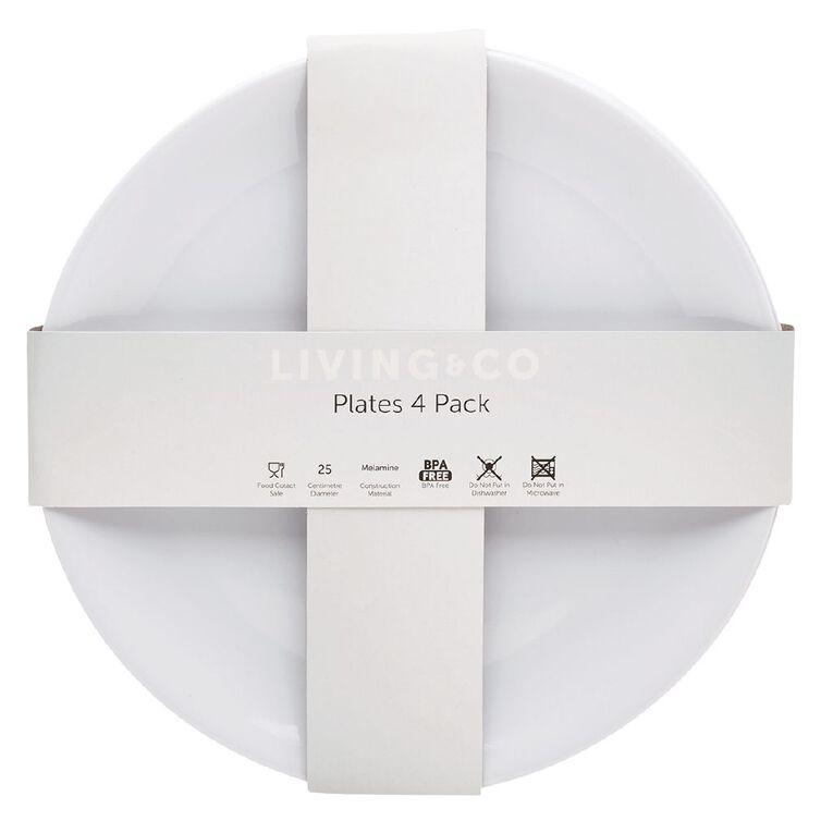 Living & Co Melamine Dinner Plate White 4 Pack, , hi-res