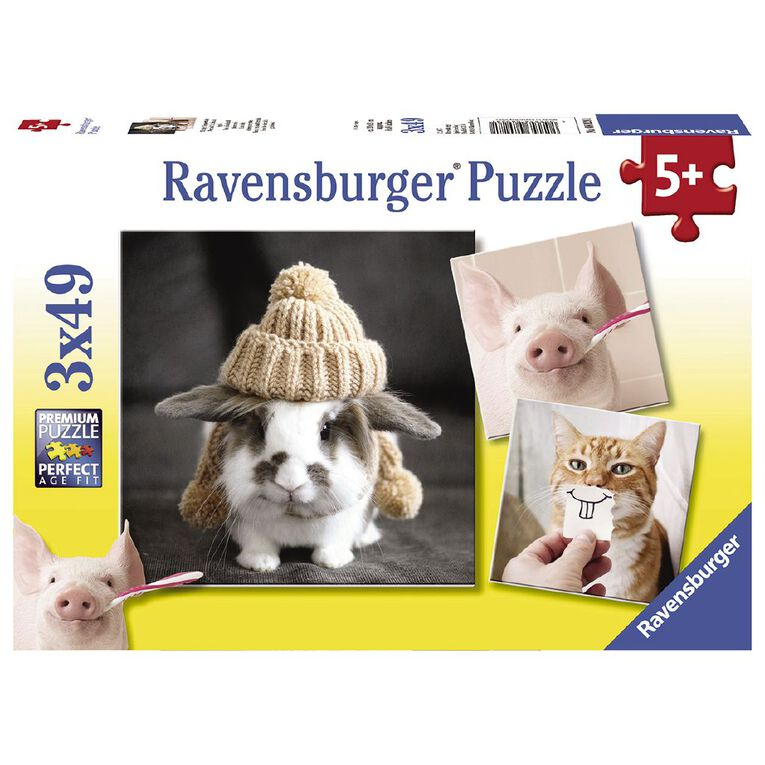 Ravensburger Funny Animal Portraits Puzzle 3x49 Piece Puzzle, , hi-res image number null
