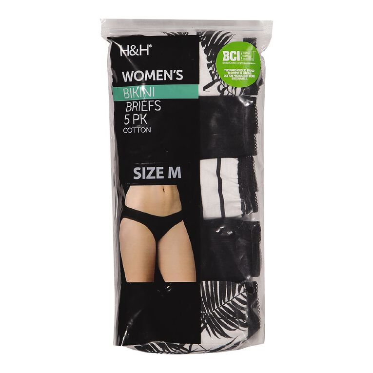 H&H Women's Bikini Briefs 5 Pack, White/Black, hi-res