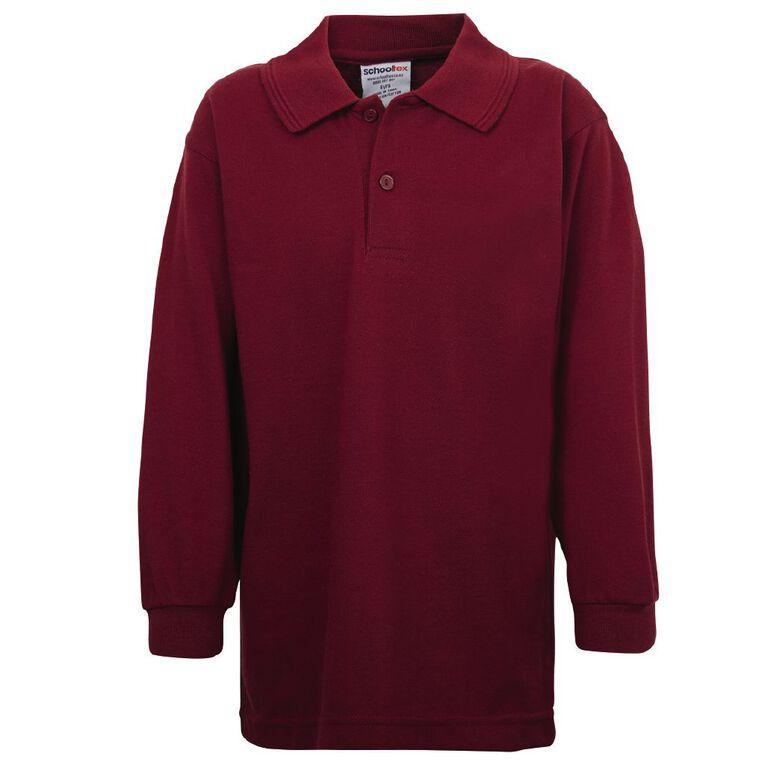 Schooltex Kids' Long Sleeve Polo, Burgundy, hi-res