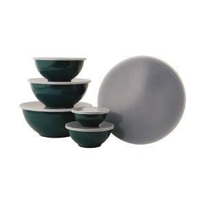 Living & Co Melamine Mixing Bowl Set Green Dark 6 Pack