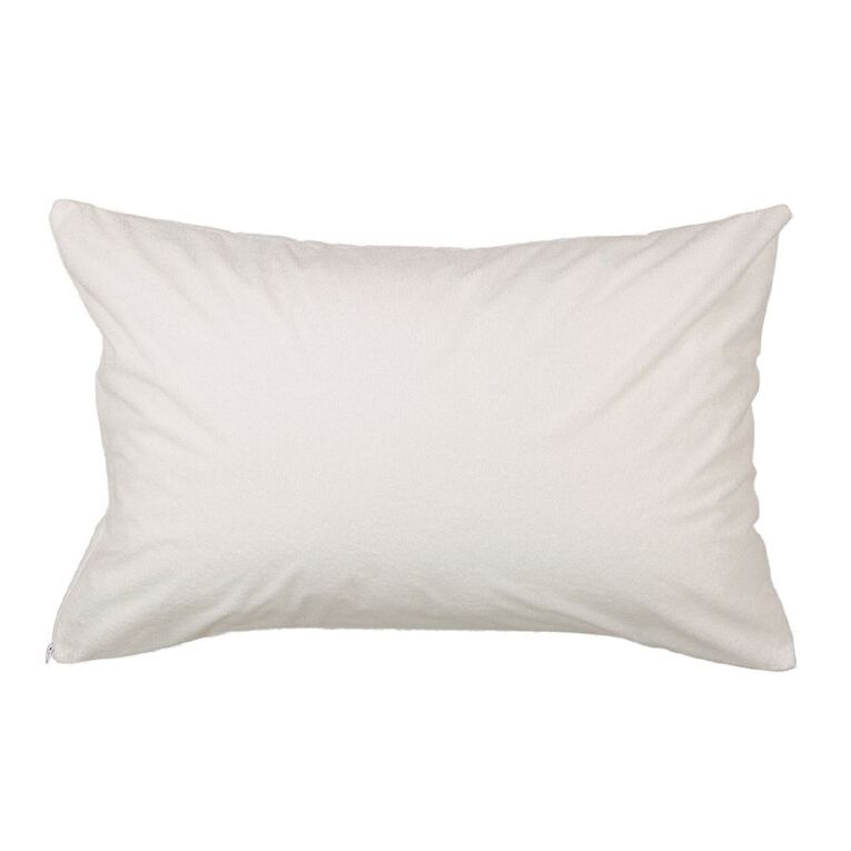 Living & Co Pillow Protector Terry White Standard, White, hi-res