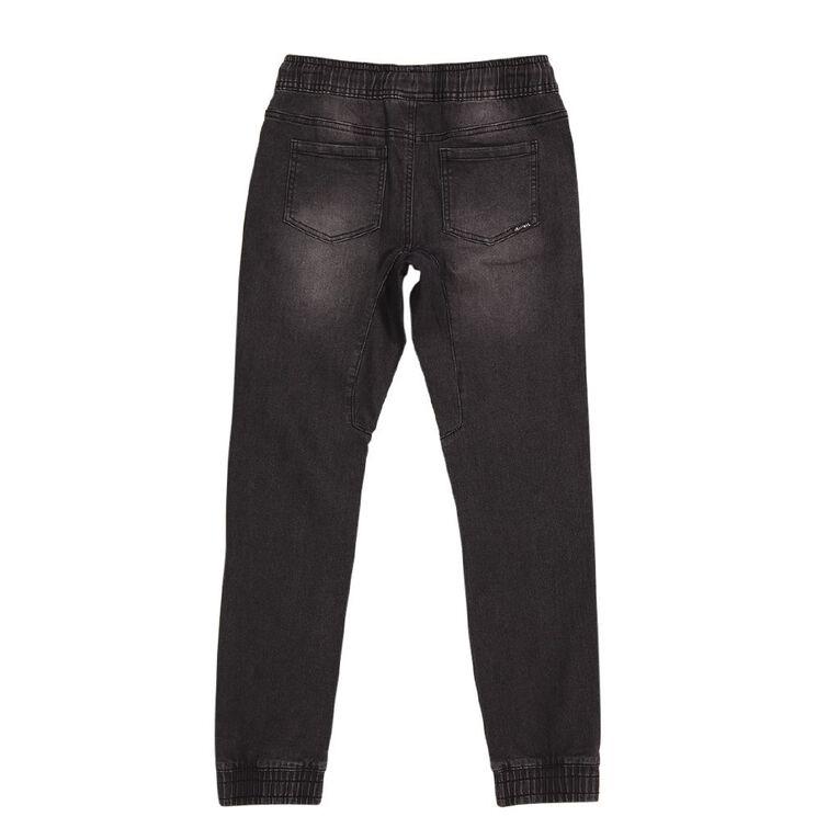 Young Original Boys' Panel Knee Jeans, Black, hi-res