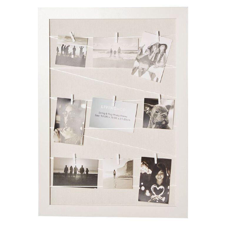 Living & Co String and Peg Photo Frame White 50cm x 70cm, , hi-res
