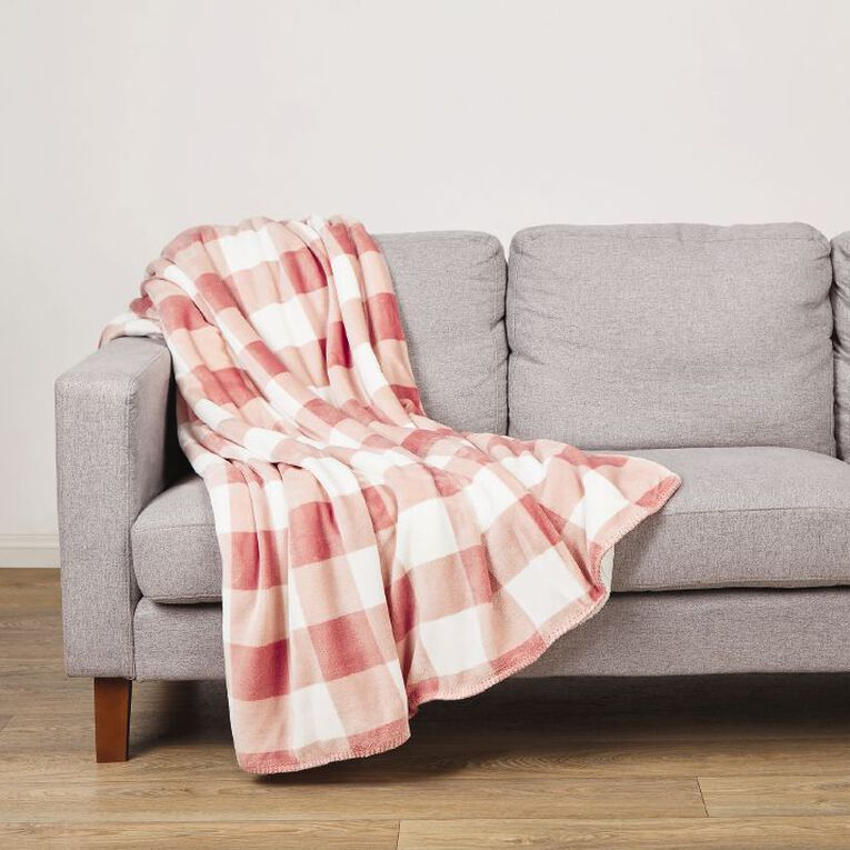 Living & Co Flannel Printed Sherpa Throw Peach Whip Pink 127cm x 152cm, Pink, hi-res