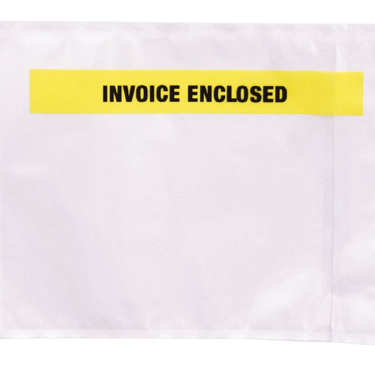Packing Labelopes Invoice Enclosed 100 Pack White, , hi-res