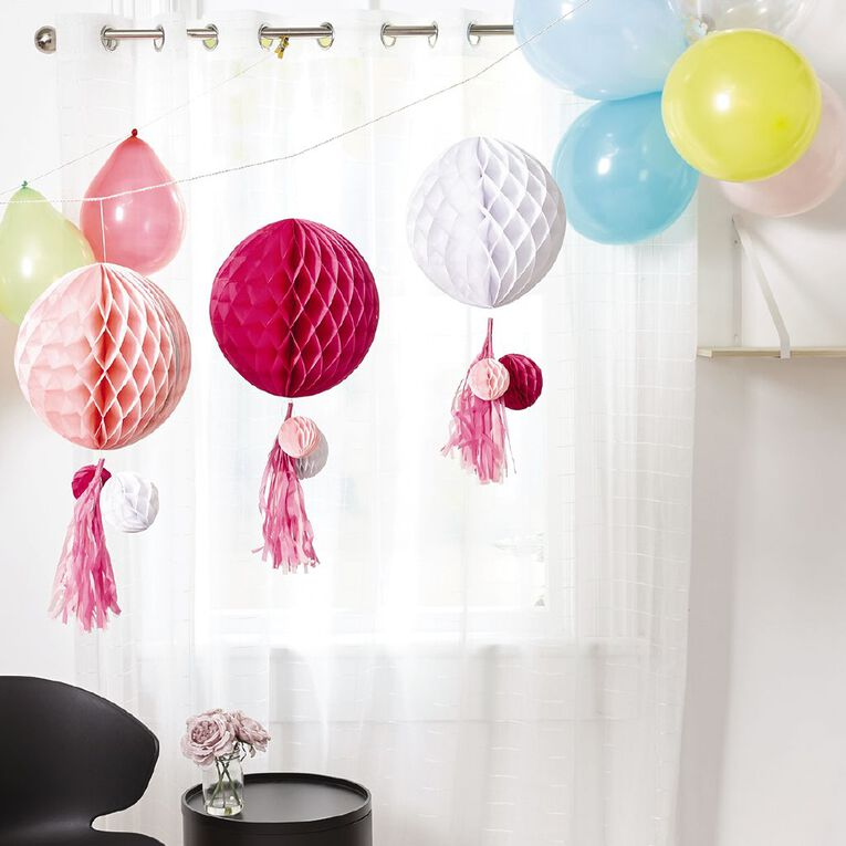 Party Inc Honeycomb Lantern with Tassels Pink 3 Pack, , hi-res