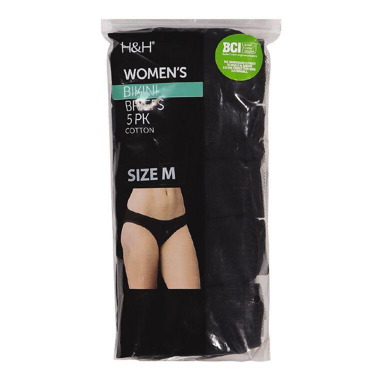 H&H Women's Bikini Briefs 5 Pack, Black, hi-res