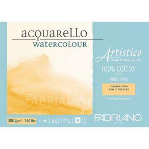 Fabriano Artistico Watercolour Pad Cold Pressed 300GSM 12 Sheets A4