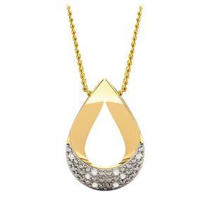 0.02 Carat Diamond 9ct Gold Tear Drop Pendant