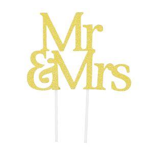 Artwrap Cake Topper Mr & Mrs Gold Glitter