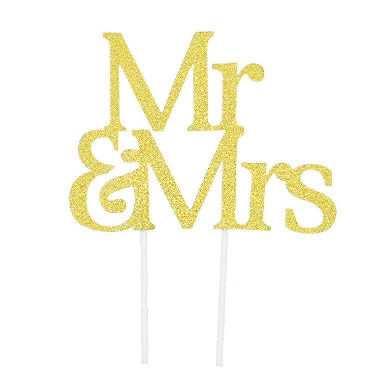 Artwrap Cake Topper Mr & Mrs Gold Glitter, , hi-res