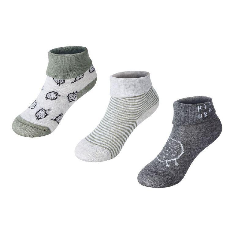 H&H Infant Boys' Turn Top Bootie Socks 3 Pack, Grey Light, hi-res