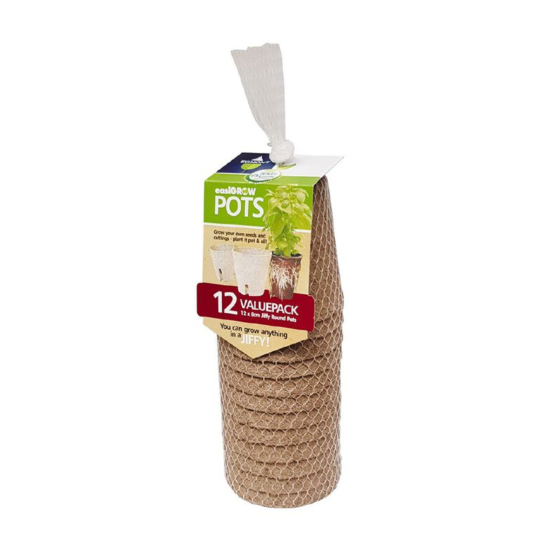 Jiffy Easi Grow Pots 8cm Round 12 Pack, , hi-res