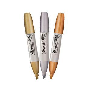 Sharpie Permanent Marker Chisel Metallic Assorted 3 Pack