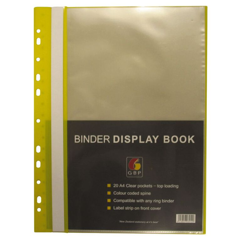Office Supply Co Binder Display Book 20 Pocket Yellow A4, , hi-res