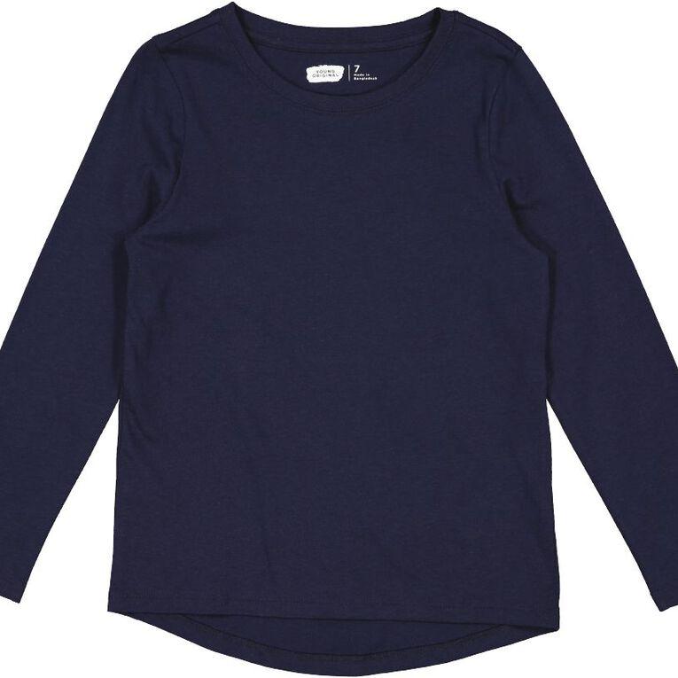 Young Original Long Sleeve Plain Tee, Blue Dark, hi-res