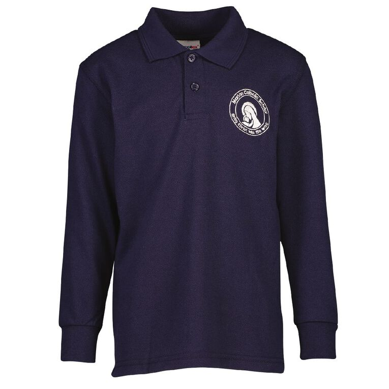 Schooltex Marian Catholic School New Long Sleeve Polo with Embroidery, Navy, hi-res