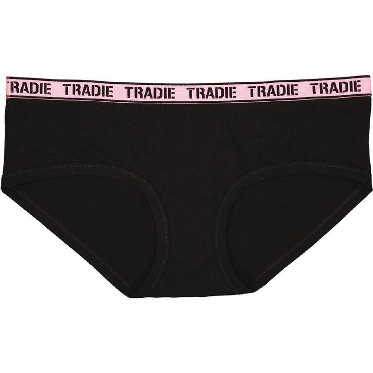 Tradie Women's Lady Curve Boyleg 3 Pack, Black Focus Core, hi-res