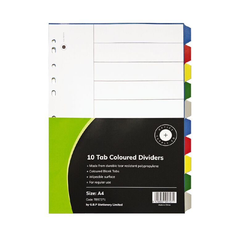 Office Supply Co 10 Tab Coloured Polyproplylene Dividers, , hi-res