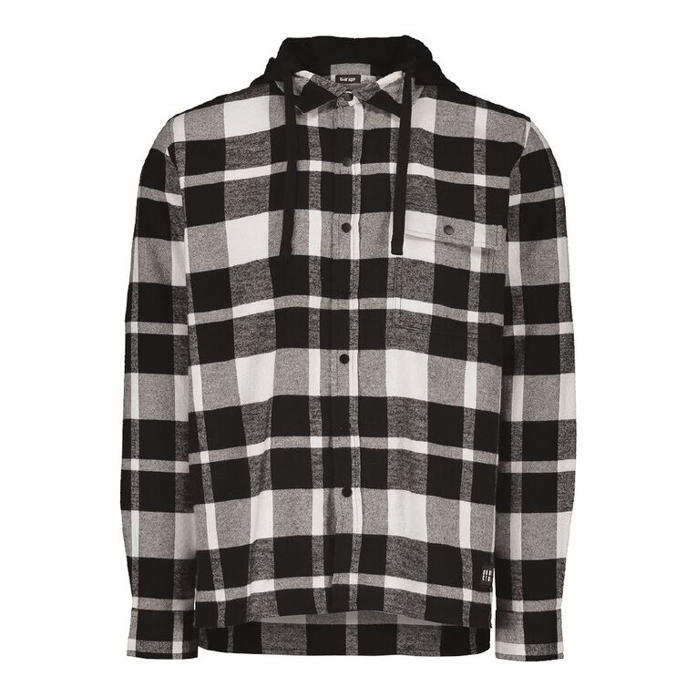 Garage Men's Long Sleeve Checked Hooded Shirt, Black/White, hi-res