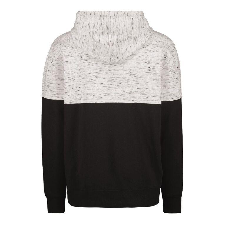 H&H Men's Space Dye Spliced Panel Sweatshirt, White/Black, hi-res