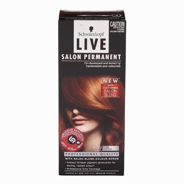 Schwarzkopf Live Salon Permanent 7-77 Pure Copper, , hi-res