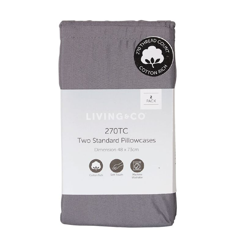 Living & Co Pillowcase Standard Cotton Rich 2 Piece Charcoal 48cm x 73cm, Charcoal, hi-res