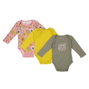 Young Original Baby 3 Pack Long Sleeve Printed Bodysuits