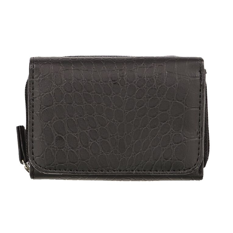 H&H Croc Small Zip Around Purse, Black, hi-res image number null