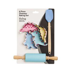 Living & Co Kids Dinosaur Baking Set Multi-Coloured 6 Pack