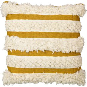 Living & Co Cushion Luxe Tufted Stripe Yellow 45cm x 45cm