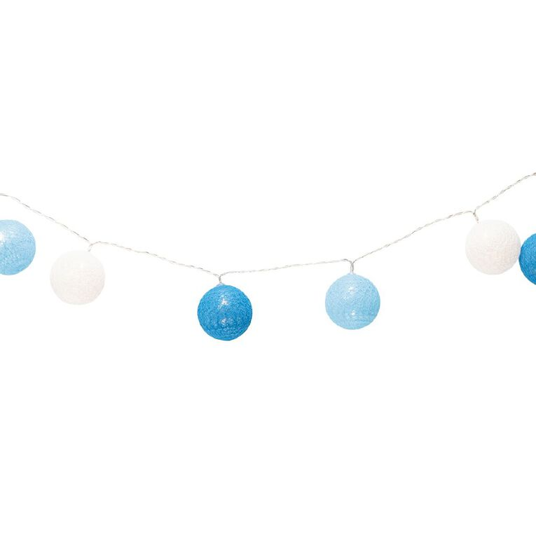 Party Inc Battery Operated Cotton Ball String Lights 10 LED Blue, , hi-res