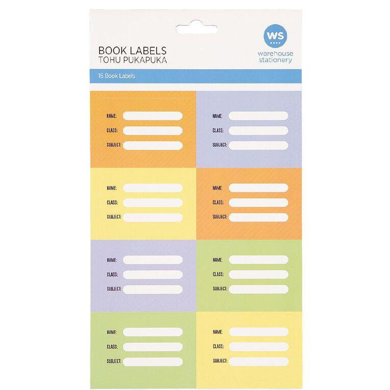 WS Book Labels Pack/16 Splat Colourful, , hi-res