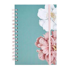 Uniti Kiwi Breeze Notebook Hardcover Spiral Flowers Green Light A5